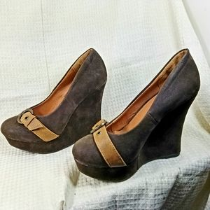 Brown Platform Wedges by Herstyle